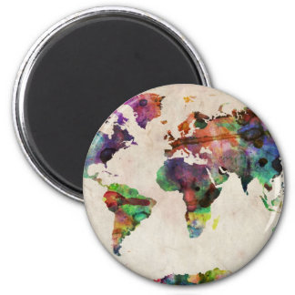 World Map Urban Watercolor Magnet