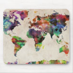 World Map Urban Watercolor Mouse Pads
