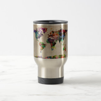 World Map Urban Watercolor 15 Oz Stainless Steel Travel Mug