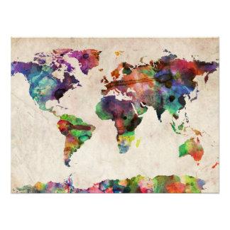 World Map Urban Watercolor Photo Print