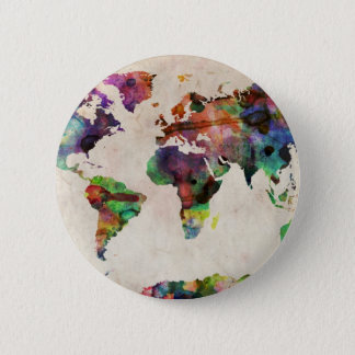 World Map Urban Watercolor Pinback Button