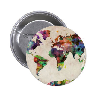 World Map Urban Watercolor Pinback Button