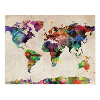 World Map Urban Watercolor Postcard