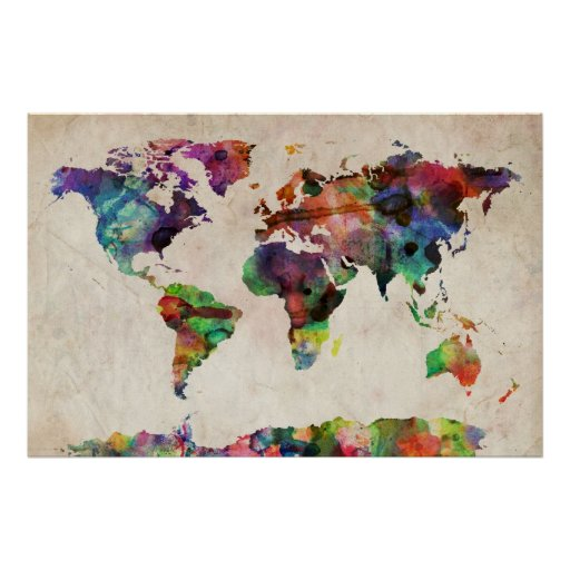 world map urban watercolor poster. Black Bedroom Furniture Sets. Home Design Ideas