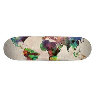 World Map Urban Watercolor Custom Skate Board