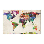 World Map Urban Watercolor Stretched Canvas Prints