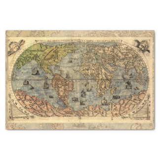 """World Map Vintage Atlas Historical Continents 10"""" X 15"""" Tissue Paper"""
