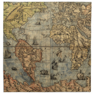 World Map Vintage Atlas Historical Continents Cloth Napkin