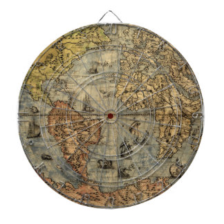 World Map Vintage Atlas Historical Continents Dart Boards