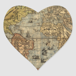 World Map Vintage Atlas Historical Continents Heart Sticker