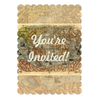 "World Map Vintage Atlas Historical Continents 5"" X 7"" Invitation Card"