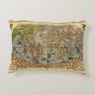 World Map Vintage Atlas Historical Continents Accent Pillow