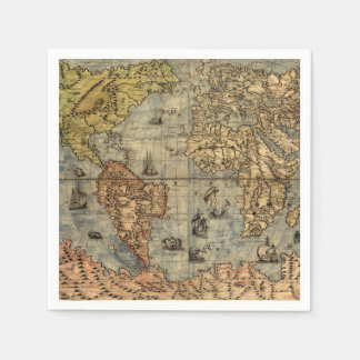 World Map Vintage Atlas Historical Continents Napkin