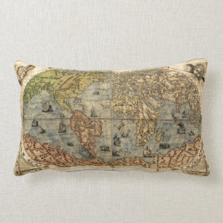 World Map Vintage Atlas Historical Continents Pillow