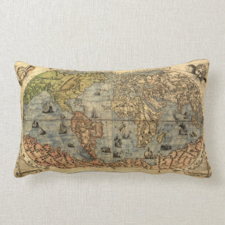 World Map Vintage Atlas Historical Continents Throw Pillow