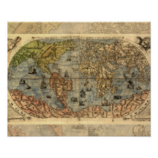 World Map Vintage Atlas Historical Continents Poster