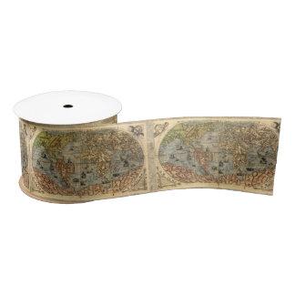 World Map Vintage Atlas Historical Continents Satin Ribbon