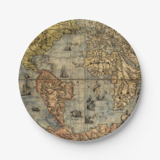 World Map Vintage Atlas Historical Continents 7 Inch Paper Plate