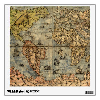 World Map Vintage Atlas Historical Continents Wall Sticker