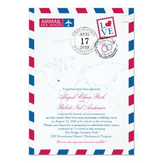 World Map Virginia USA Airmail | Wedding Card