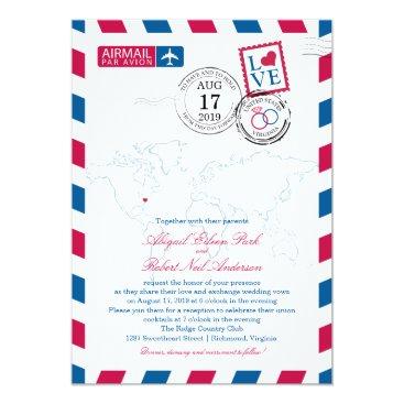 labellarue World Map Virginia USA Airmail | Wedding Card
