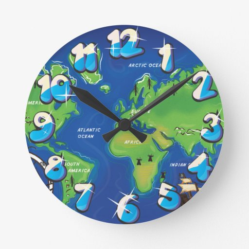 World Map Wall Clocks