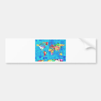 world map watercolor  10 bumper sticker