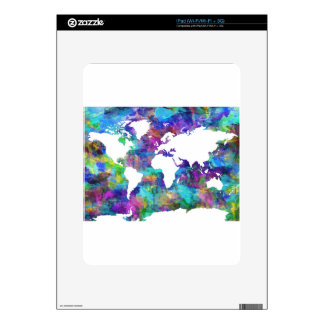 world map watercolor  13 decal for the iPad