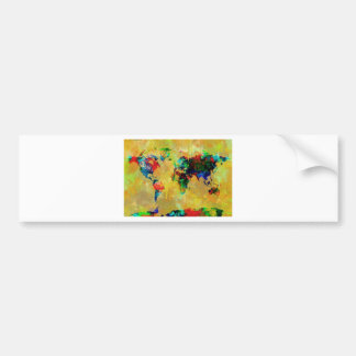 world map watercolor 19 bumper sticker