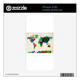world map watercolor 20 iPhone 4S skin