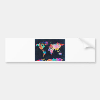 world map watercolor 21 bumper sticker