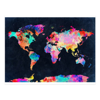 world map watercolor 21 postcard