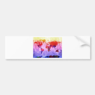 world map watercolor 22 bumper sticker