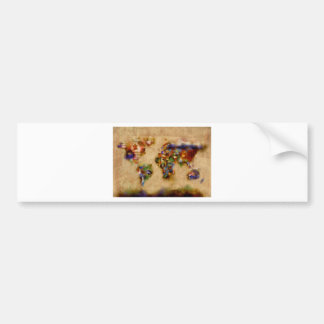 world map watercolor 26 bumper sticker