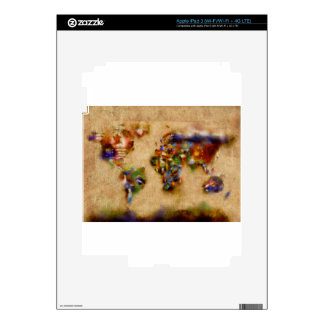 world map watercolor 26 skin for iPad 3