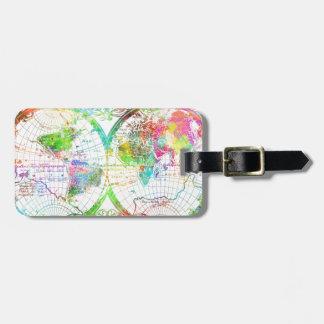 world map watercolor 27 bag tag