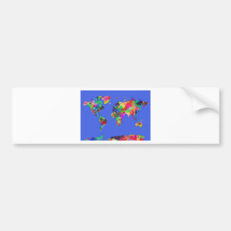 world map watercolor 30 bumper sticker