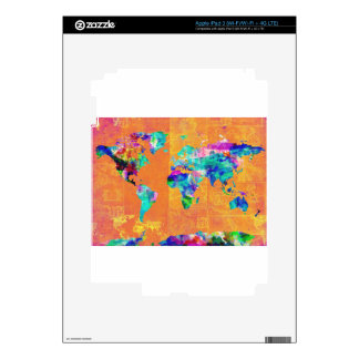 world map watercolor 3 skin for iPad 3