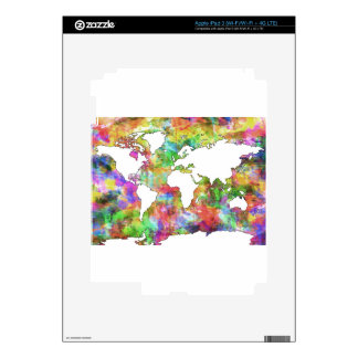 world map watercolor  5 decal for iPad 3
