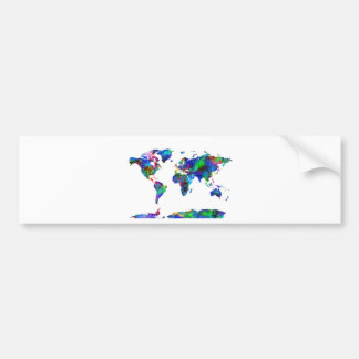 world map watercolor 6 bumper sticker