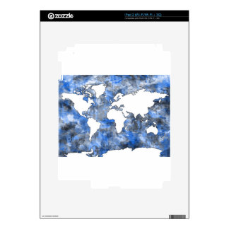 world map watercolor 7 skin for iPad 2