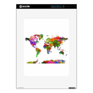 world map watercolor 9 decal for iPad