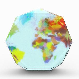 World Map watercolor Acrylic Award