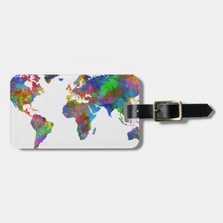 world map watercolor bag tag