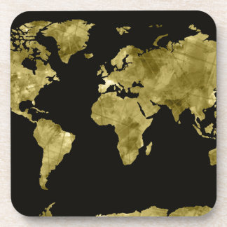 world map watercolor black drink coaster