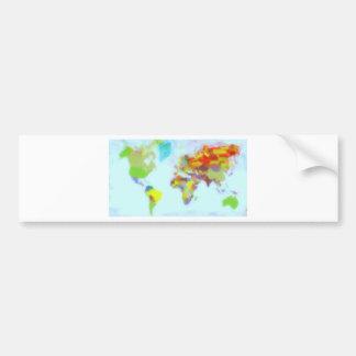 World Map watercolor Bumper Sticker