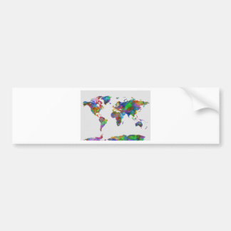 world map watercolor bumper sticker