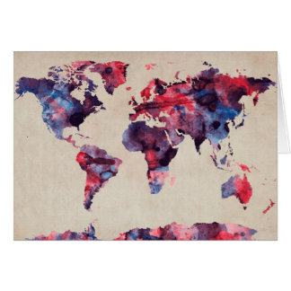 World Map Watercolor Card