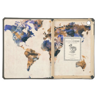 World Map Watercolor iPad Air Cases