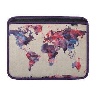 World Map Watercolor MacBook Sleeves
